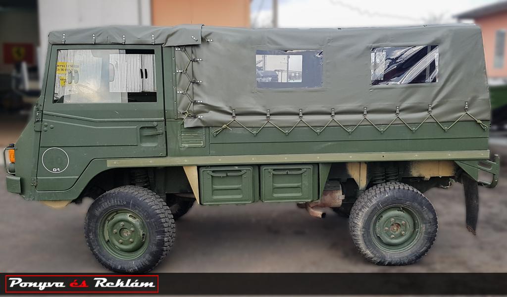 Katonai jármű ponyvázása