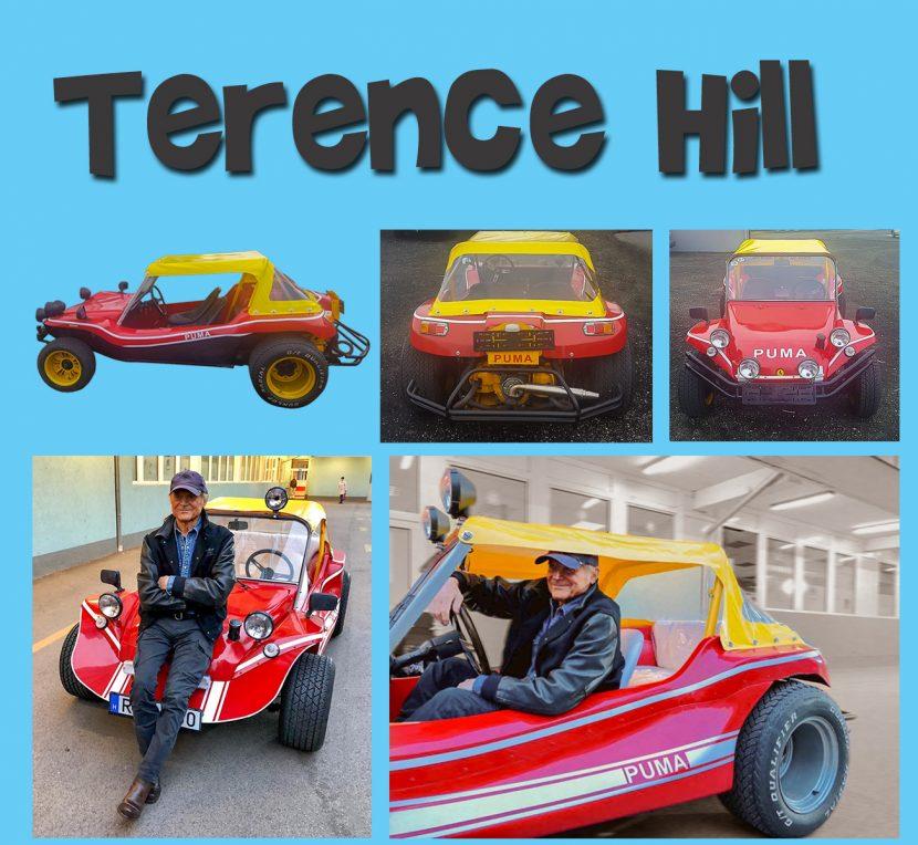Terence Hill az általunk ponyvázott Buggy-ban.